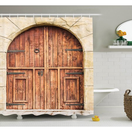 Rustic Decor Shower Curtain Set By Traditional Oak Crafted Doorway