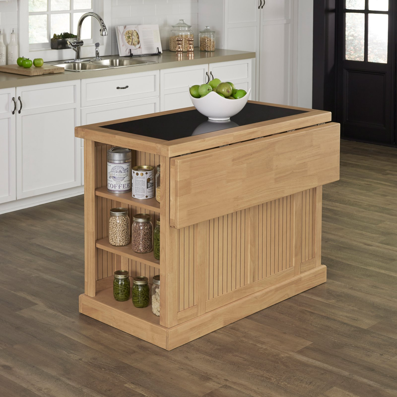 Nantucket Natural Kitchen Island with Granite Top