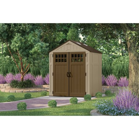 Suncast 6 x 5 Outdoor Everett Storage Shed with Windows, Sand Brown