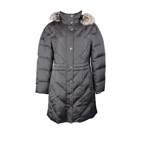 London Fog Plus Size Black Faux-Fur-Trimmed Quilted Coat L ()