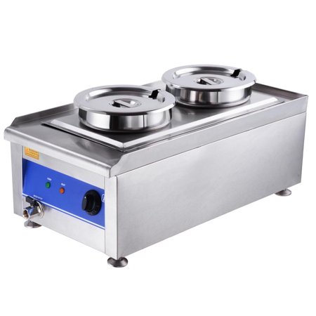 Yescom 1200W Commercial Countertop Food Warmer Dual Steam Table Kitchen Soup Station w/ 2x 7L Stainless Steel Pots