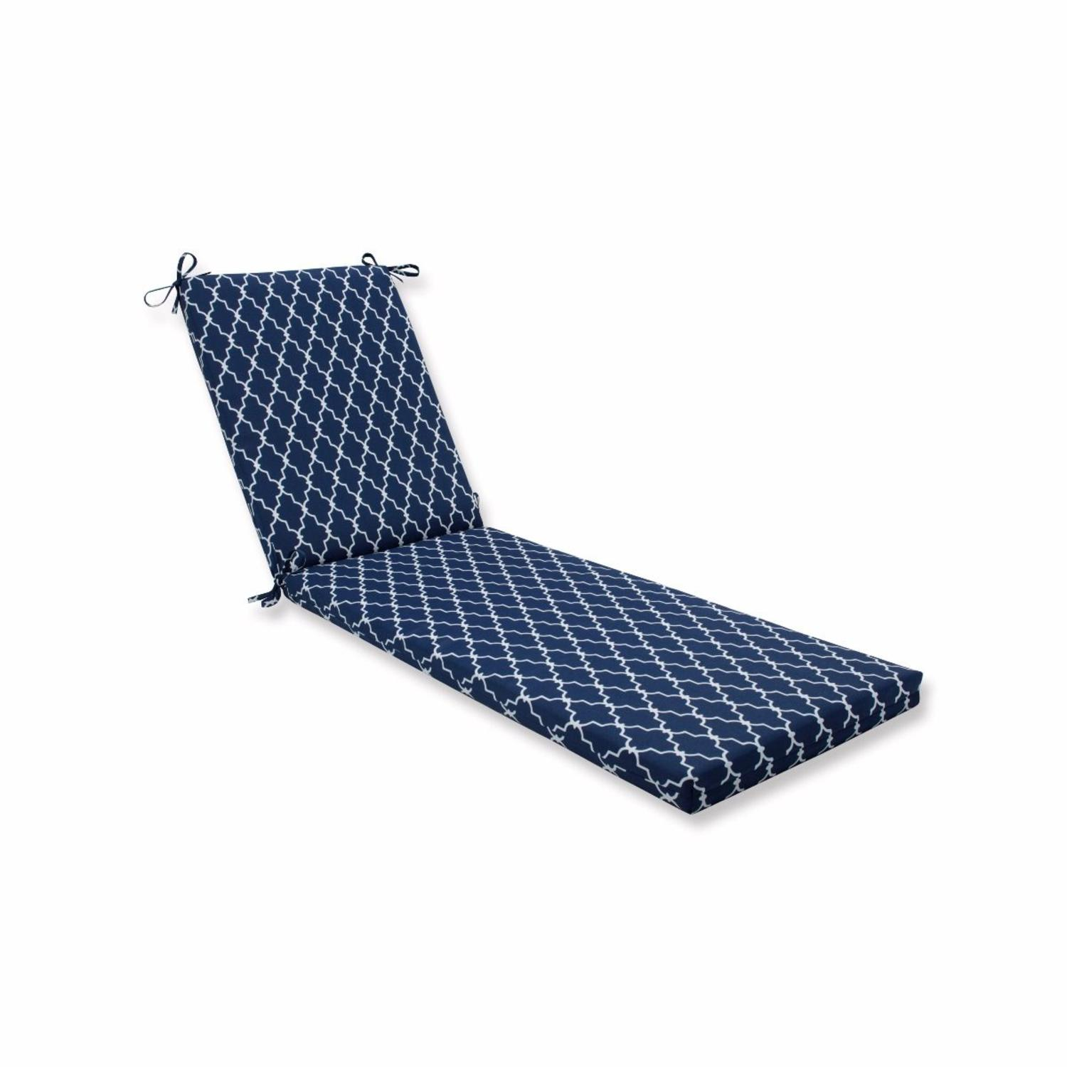 "80"" Blue Geometric UV/Fade Resistant Outdoor Patio Chaise Lounge Cushion with Ties"