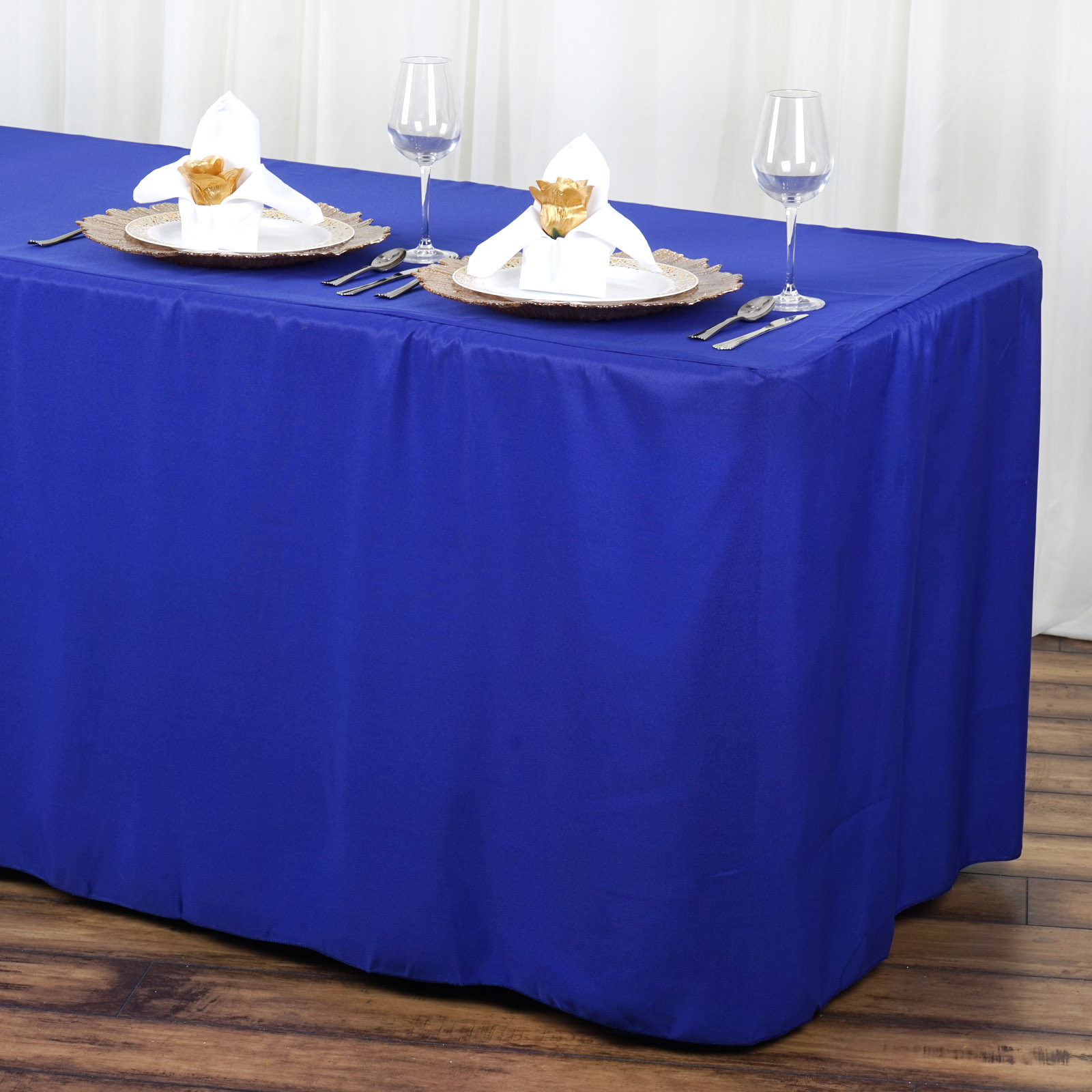 BalsaCircle 6 feet Fitted Polyester Tablecloth - Wedding Party Trade Show Booth Events Birthday Table Linens Decorations