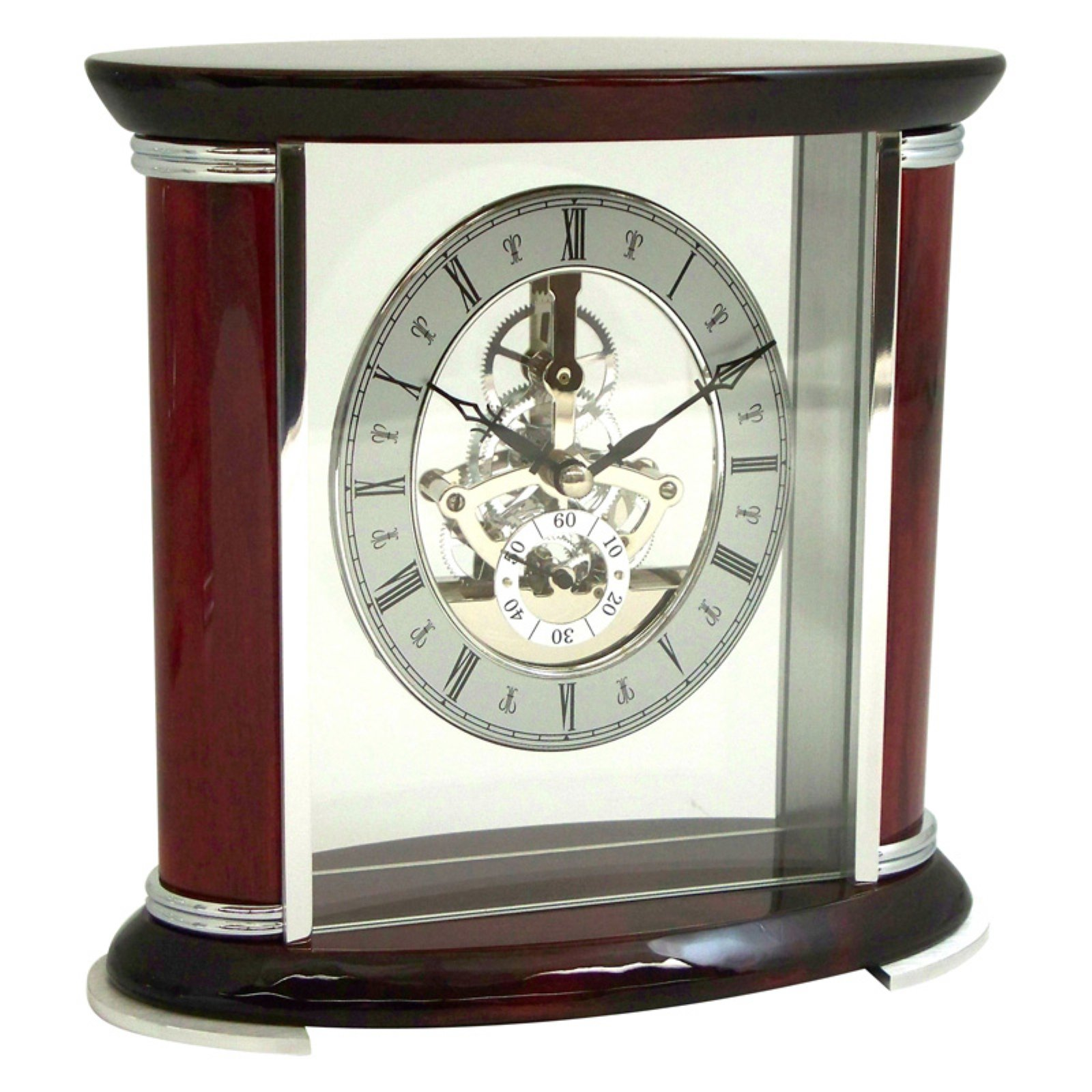 Bey-Berk International Rosewood with Chrome Mantel Clock