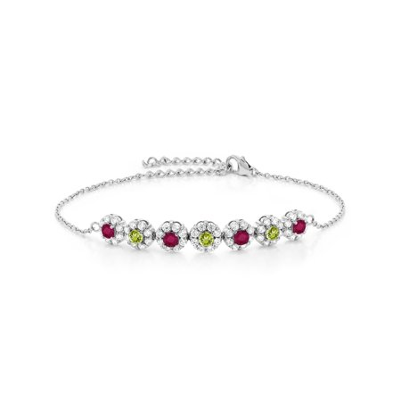 925 Sterling Silver 1.50 Ct Round Red Ruby Green Peridot 7 Inch Tennis Bracelet