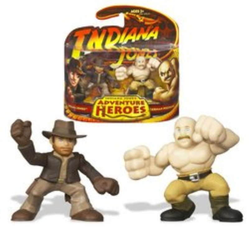 "Indiana Jones Adventure Heroes 2-1/2 Inch Tall Mini Action Figure - Indiana Jones vs German Mechanic from "" Raiders of the Lost"