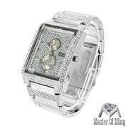 Platinum Mens Watch Rectangle Face Analog Steel White Gold Tone Iced Out