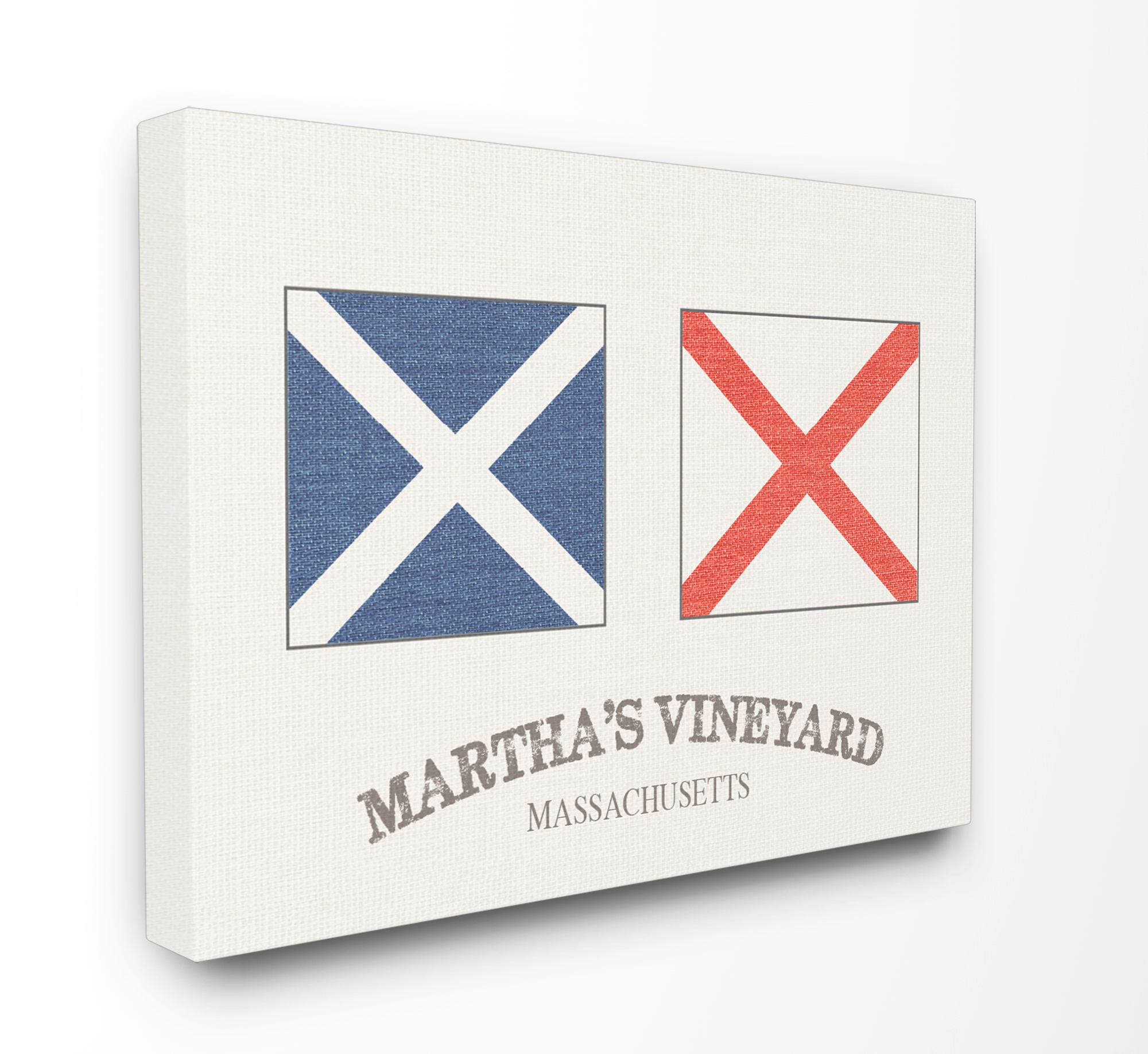 The Stupell Home Decor Collection Martha's Vineyard Nautical Flags Oversized Stretched Canvas Wall Art, 24 x 1.5 x 30