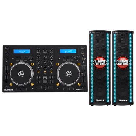 Numark Mixdeck Express Dj Mixer Dual Cd Usb Players 2  Active Lightwave Speakers