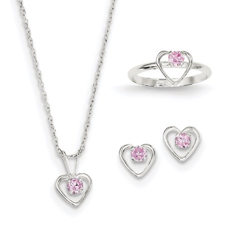 "925 Sterling Silver Childs 15"" Necklace, Earrings & Size 3 Ring Set - image 2 of 2"