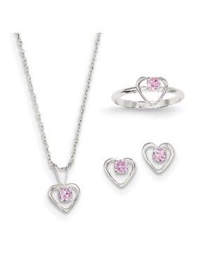 "Product Image 925 Sterling Silver Childs 15"" Necklace, Earrings & Size 3 ..."