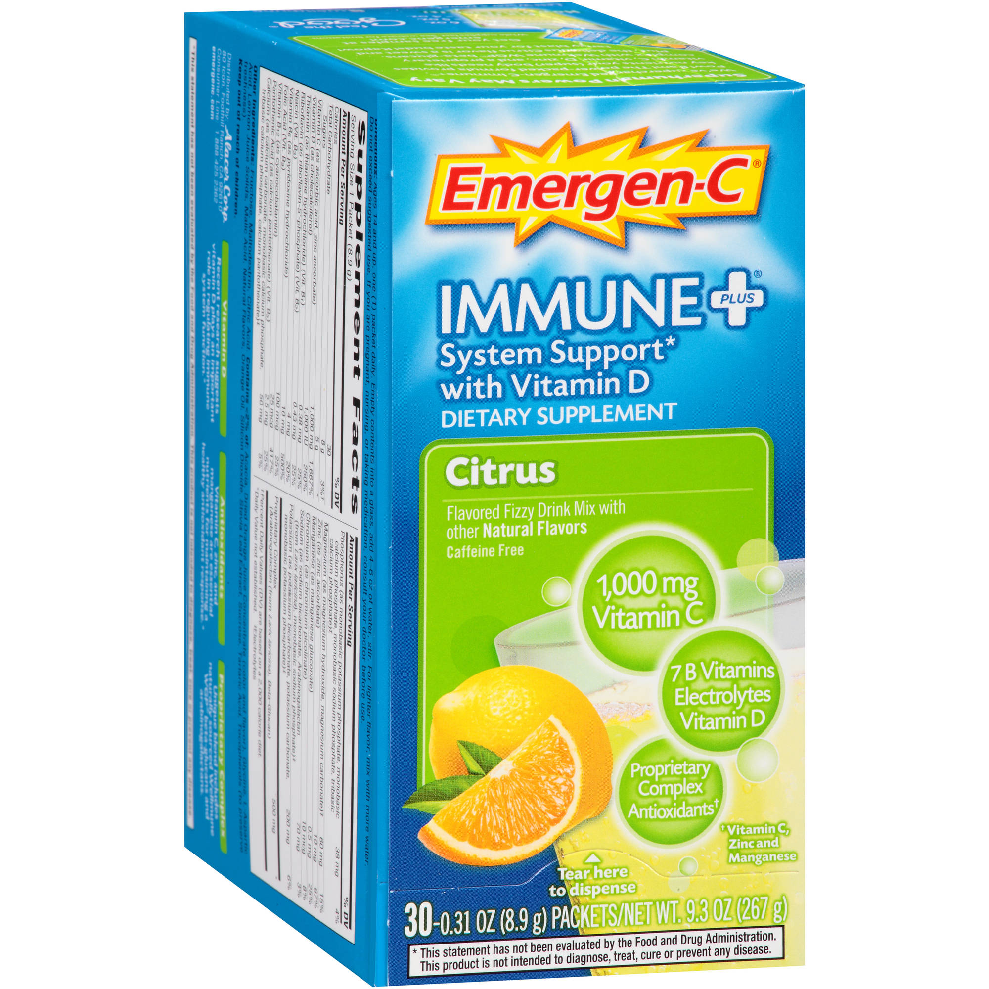 Emergen-C Immune+ (30 Count, Citrus Flavor) Dietary Supplement With Vitamin D Fizzy Drink Mix, 1000mg Vitamin C, 0.31 Ounce Packets