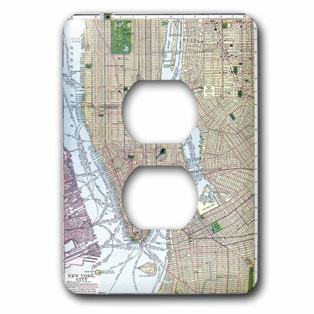 Rose Print Of Vintage New York City Map 2 Plug Outlet Cover