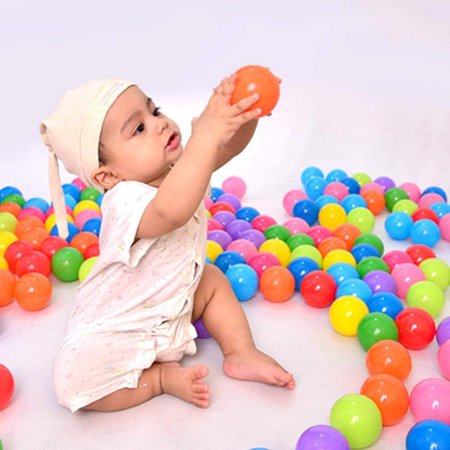 100Pcs Colorful Ocean Ball Fun Ball Soft Plastic Swim Pit Toy For Babies Kids Children Birthday Parties Events Playground Games Pool ()