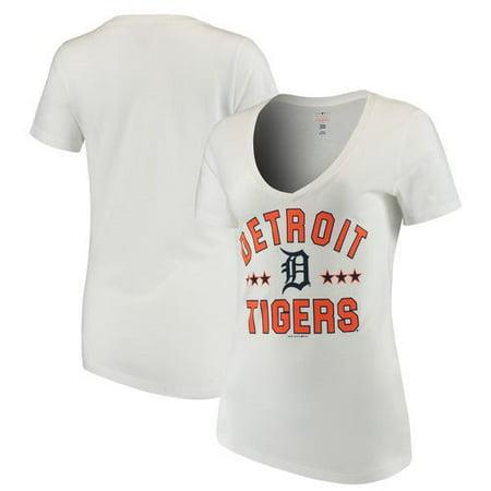 55b540f1 Women's New Era White Detroit Tigers V-Neck Short Sleeve T-Shirt ...