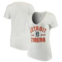 Women's New Era White Detroit Tigers V-Neck Short Sleeve T-Shirt
