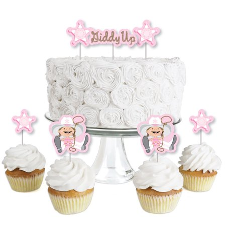 First Birthday Cowgirl Theme (Little Cowgirl - Dessert Cupcake Toppers - Western Baby Shower or Birthday Party Clear Treat Picks - Set of)