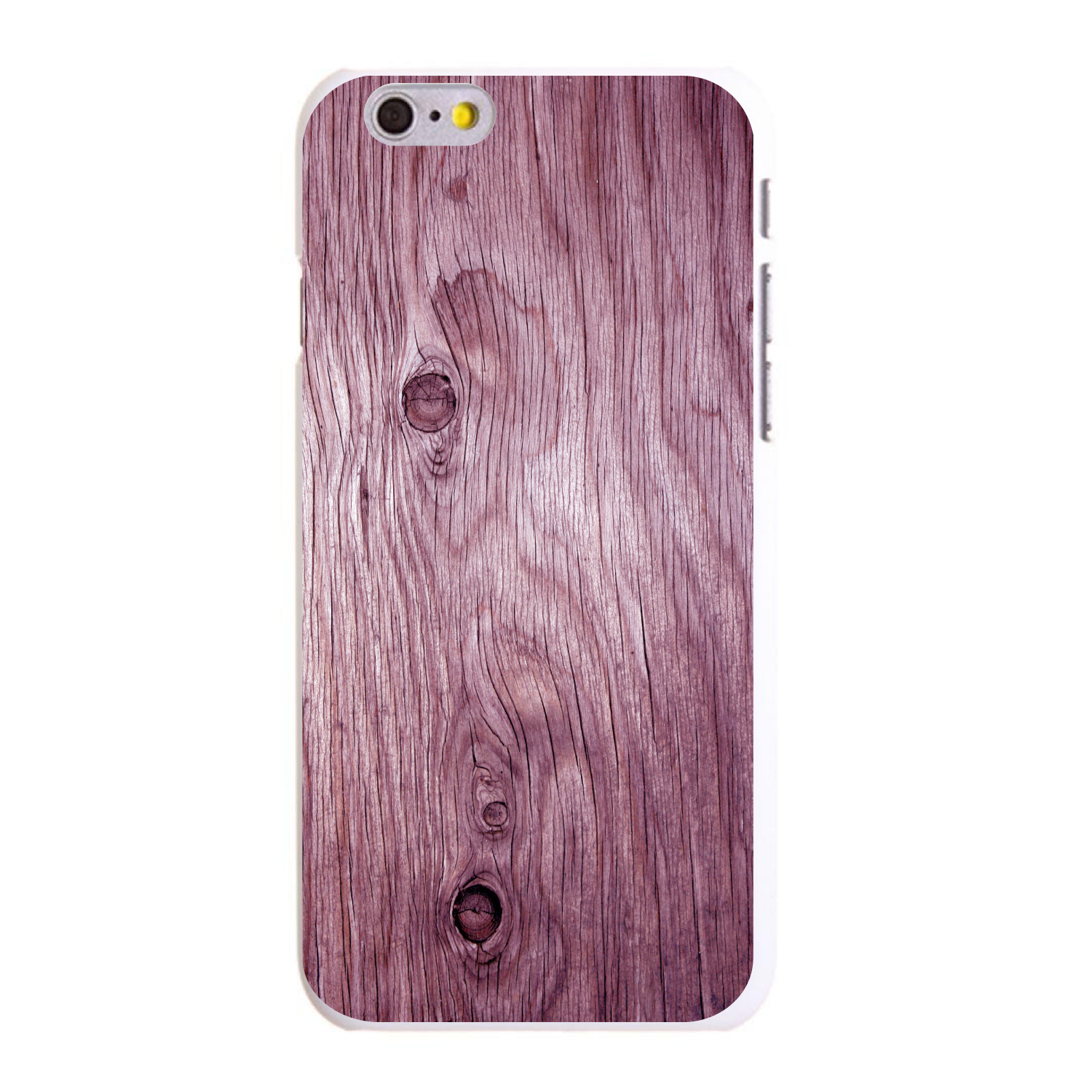 """CUSTOM White Hard Plastic Snap-On Case for Apple iPhone 6 PLUS / 6S PLUS (5.5"""" Screen) - Pink Weathered Wood Grain"""