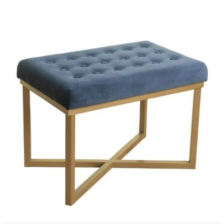 ModHaus Living Modern Transitional Tufted Top Midnight Velvet Upholstery Accent Ottoman with Gold Metal X Base - Includes Pen
