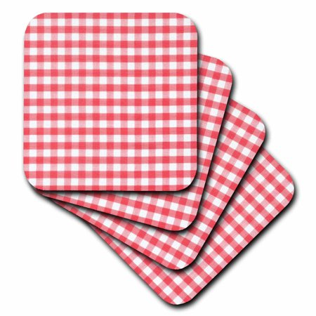 Italian Theme Ideas (3dRose Red and white Gingham pattern - retro checks checkered checked rustic Italian kitchen dining theme, Soft Coasters, set of)