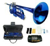 Merano B Flat BLUE   Silver Trumpet with Case+Mouth Piece+Valve Oil+Metro Tuner by
