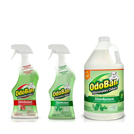 OdoBan Disinfectant Odor Eliminator Ready-to-Use 32oz Spray Bottle and 1 Gal Concentrate, Original Eucalyptus Scent, Plus 32oz Spray Bottle Cucumber Melon - Plus Concentrate