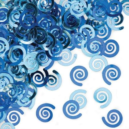 True Blue Metallic Swirl Confetti - Baseball Confetti