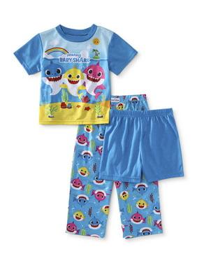 Baby Shark Toddler Boy or Girl Unisex Short Sleeve Poly Pajamas, 3pc Set
