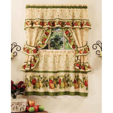 Apple Orchard Cottage Set - 57 in. x 24 in. Tier Pair-57 in. x 36 in. Ruffled Topper with attached valance and tiebacks. (Apple Orchard Valance)