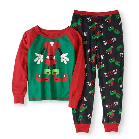 Girl's Holiday Family Pajamas Elf 2 Piece Sleepwear Set