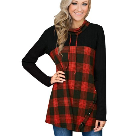 711ONLINESTORE Women Pile Collar Long Sleeve Plaid Pullover Top