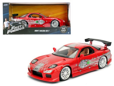 dom 39 s mazda rx 7 red fast and furious movie 1 24 diecast model car by jada. Black Bedroom Furniture Sets. Home Design Ideas