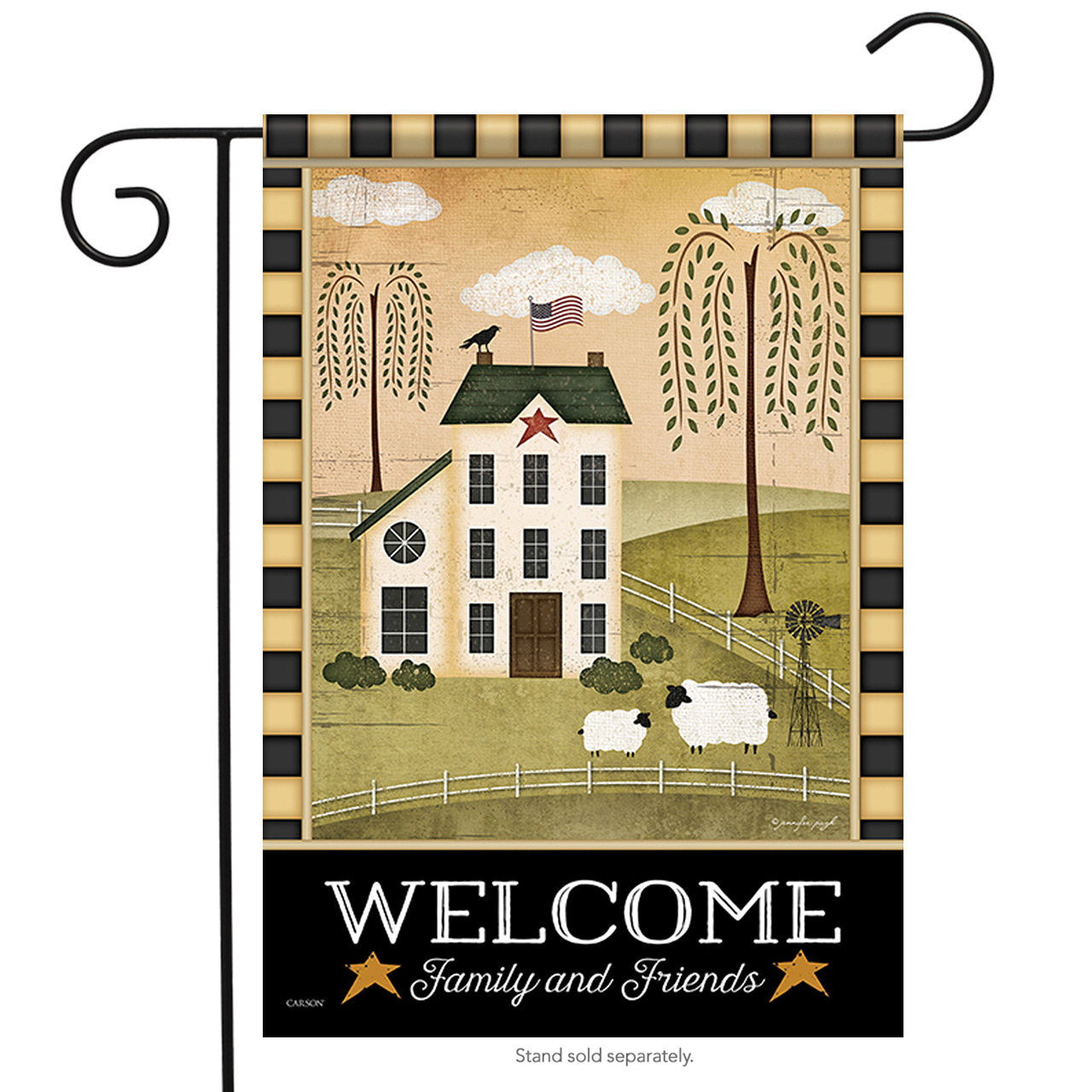 """Country Welcome Primitive Garden Flag Family & Friends Double Sided  13"""" x 18"""""""