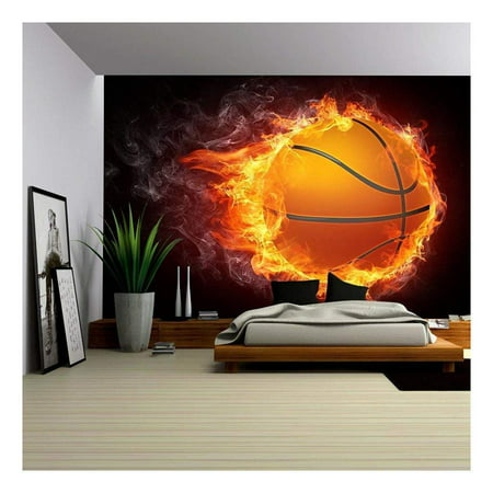 wall26 - Basketball Ball on Fire. 2D Graphics. Computer Design. - Removable Wall Mural | Self-Adhesive Large Wallpaper - 100x144 inches
