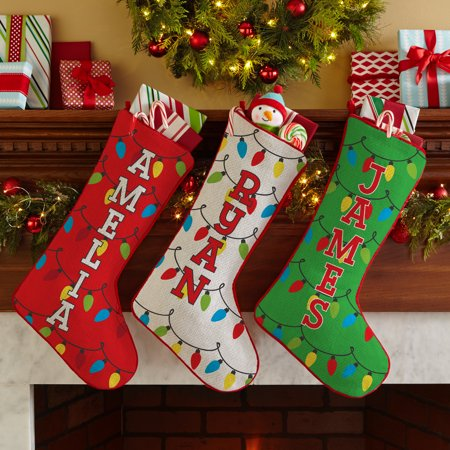 Personalized Holiday Lights Stocking - Green-Available in 3 Colors - Green Stockings