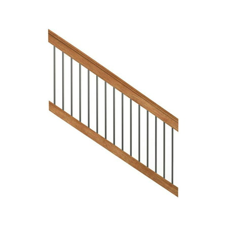 6 ft. Pressure-Treated Cedar-Tone Stair Railing Kit with Black Aluminum (Deck Railing Balusters)