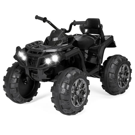 Best Choice Products 12V Kids Battery Powered Electric Rugged 4-Wheeler ATV Quad Ride-On Car Vehicle Toy w/ 3.7mph Max Speed, Reverse Function, Treaded Tires, LED Headlights, AUX Jack, Radio - (Best Agm Car Battery)