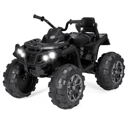 3 Wheeled Kit Car - Best Choice Products 12V Kids Battery Powered Electric Rugged 4-Wheeler ATV Quad Ride-On Car Vehicle Toy w/ 3.7mph Max Speed, Reverse Function, Treaded Tires, LED Headlights, AUX Jack, Radio - Black