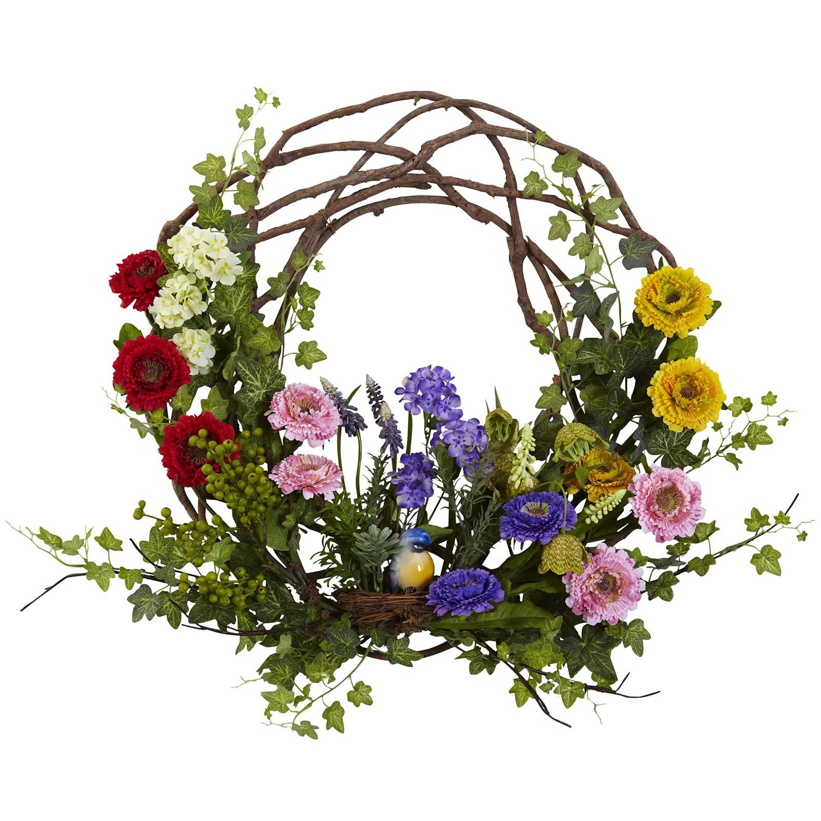 Nearly Natural 22 in. Spring Floral Wreath