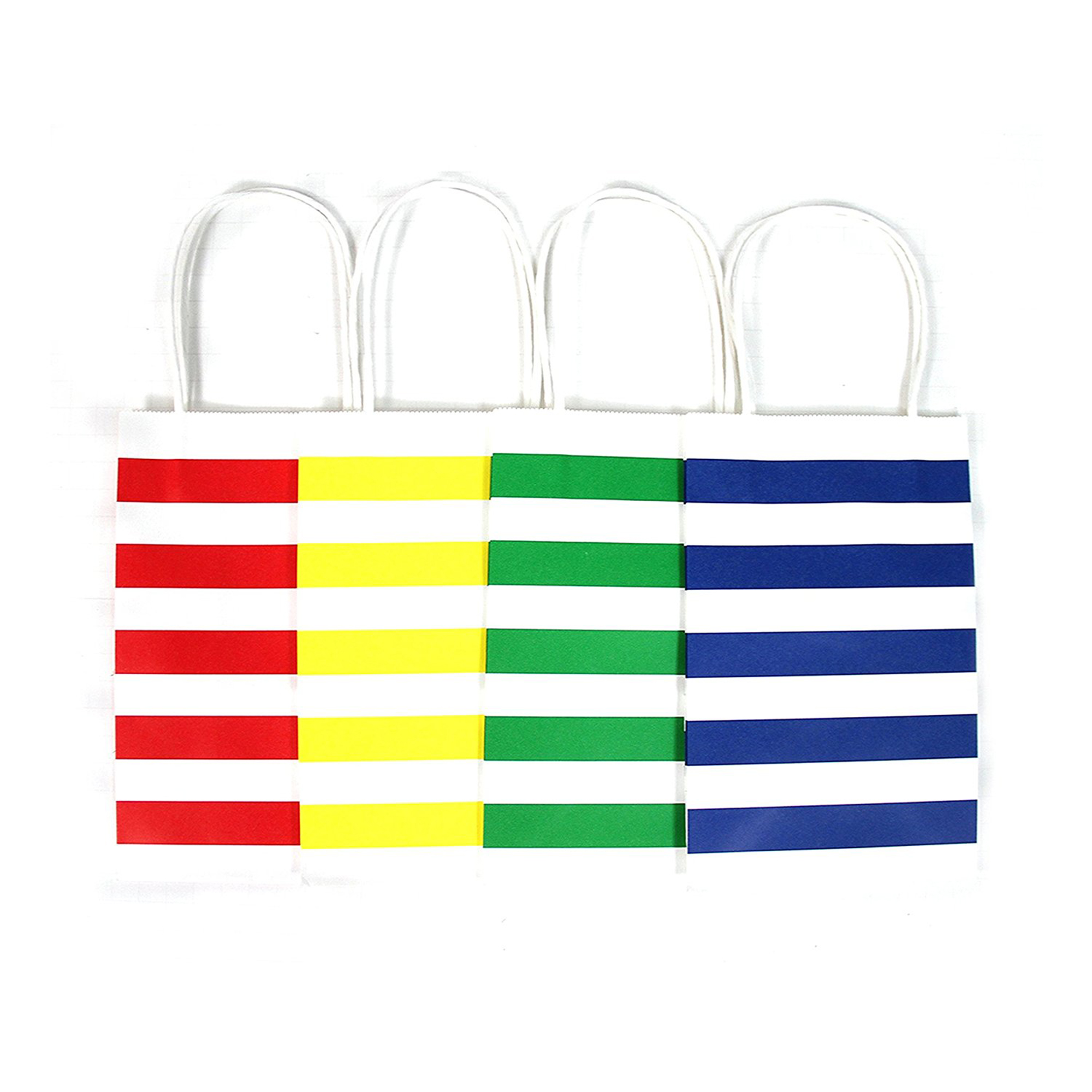 12CT Small Primary Stripe Biodegradable, Food Safe Ink & Paper Kraft Bag with White Sturdy Handle, Gift Expressions ( Small, Primary )