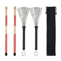 1 Pair Drum Rods Sticks + 1 Pair Drum Brushes Drum Stick Set with Storage Bag for Jazz Folk Music