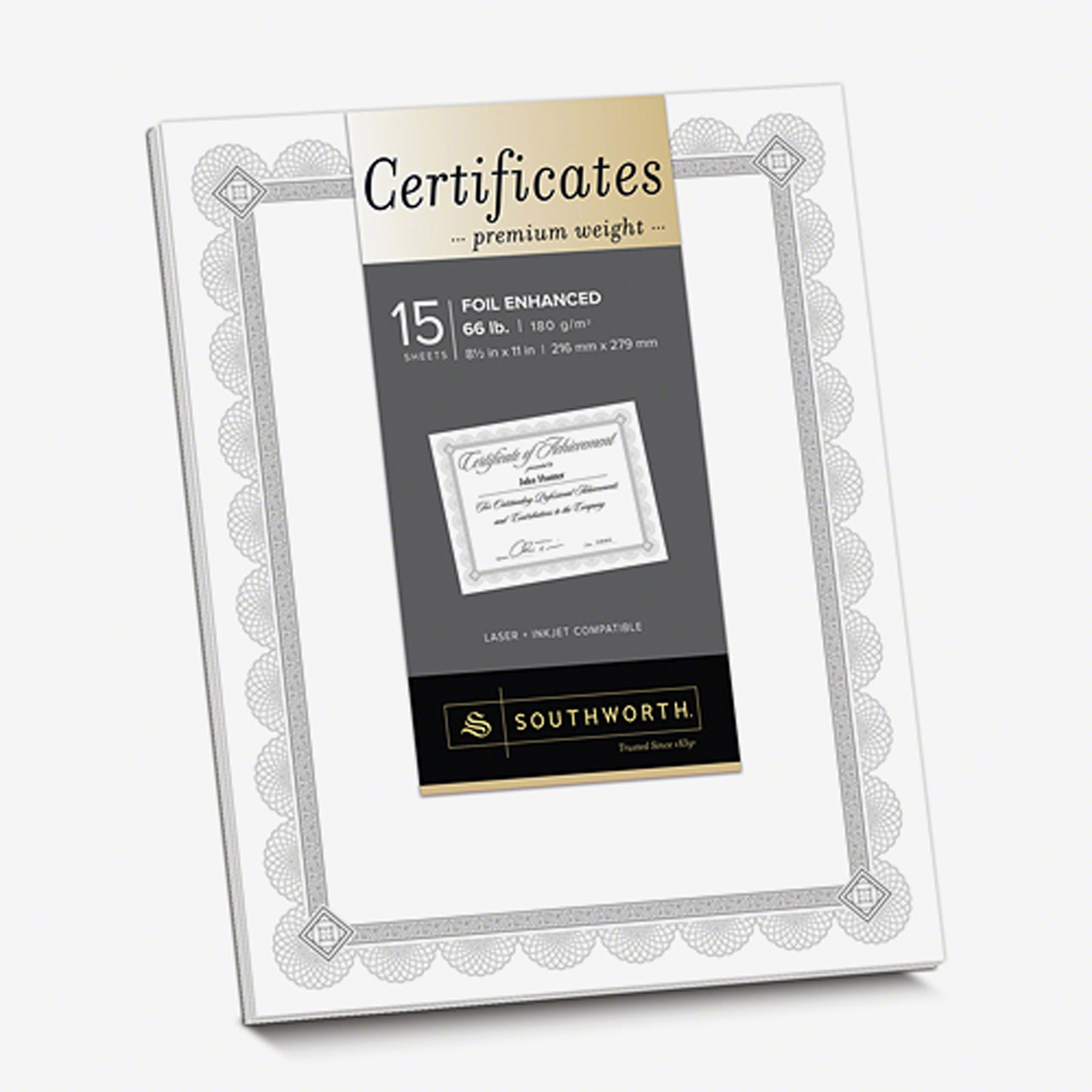 Southworth, SOUCTP2W, Foil Enhanced Certificates - Spiro Design, 15 / Pack, White,Silver