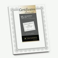 Southworth, SOUCTP2W, Foil Enhanced Certificates - Spiro Design, 15 / Pack, White,Silver