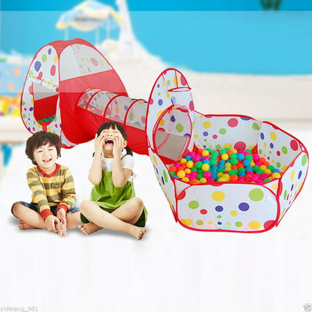 Indoor Outdoor Play Tent,HURRISE 3 in 1 Ball Pit Tent Kids Indoor Outdoor Play Tent with Crawl Tunnel - Dinosaur Ball Pit