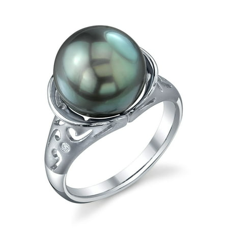 11mm Tahitian South Sea Cultured Pearl & Diamond Shannon Ring in 14K Gold