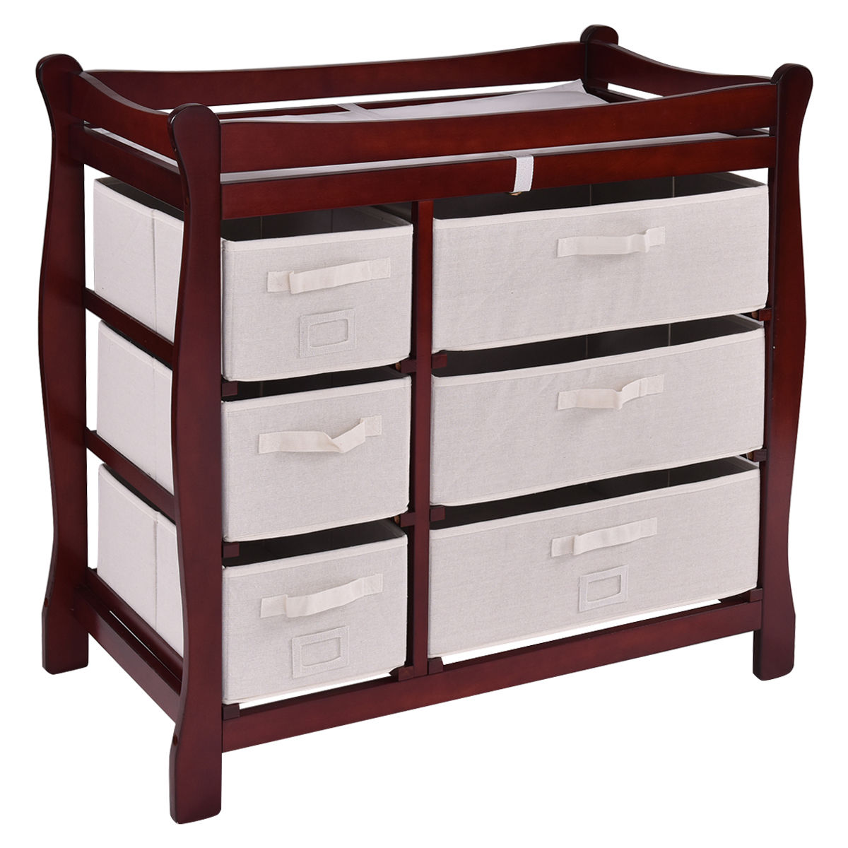 Costway Cherry Sleigh Style Baby Changing Table Diaper 6 Basket Drawer  Storage Nursery