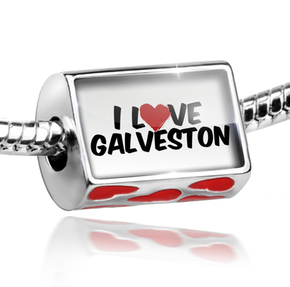 Bead I Love Galveston Charm Fits All European Bracelets by NEONBLOND