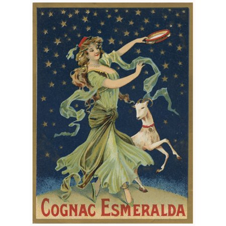 Vintage alcohol bottle label for Cognac Esmeralda showing a dancing woman with a tambourine and a goat Poster Print by unknown