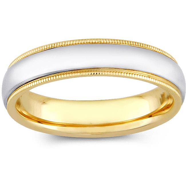 Precious Stars SEBF0001050065 14k Two-tone Gold Ladies 5 mm.  Milligrain Comfort-Fit Wedding Band