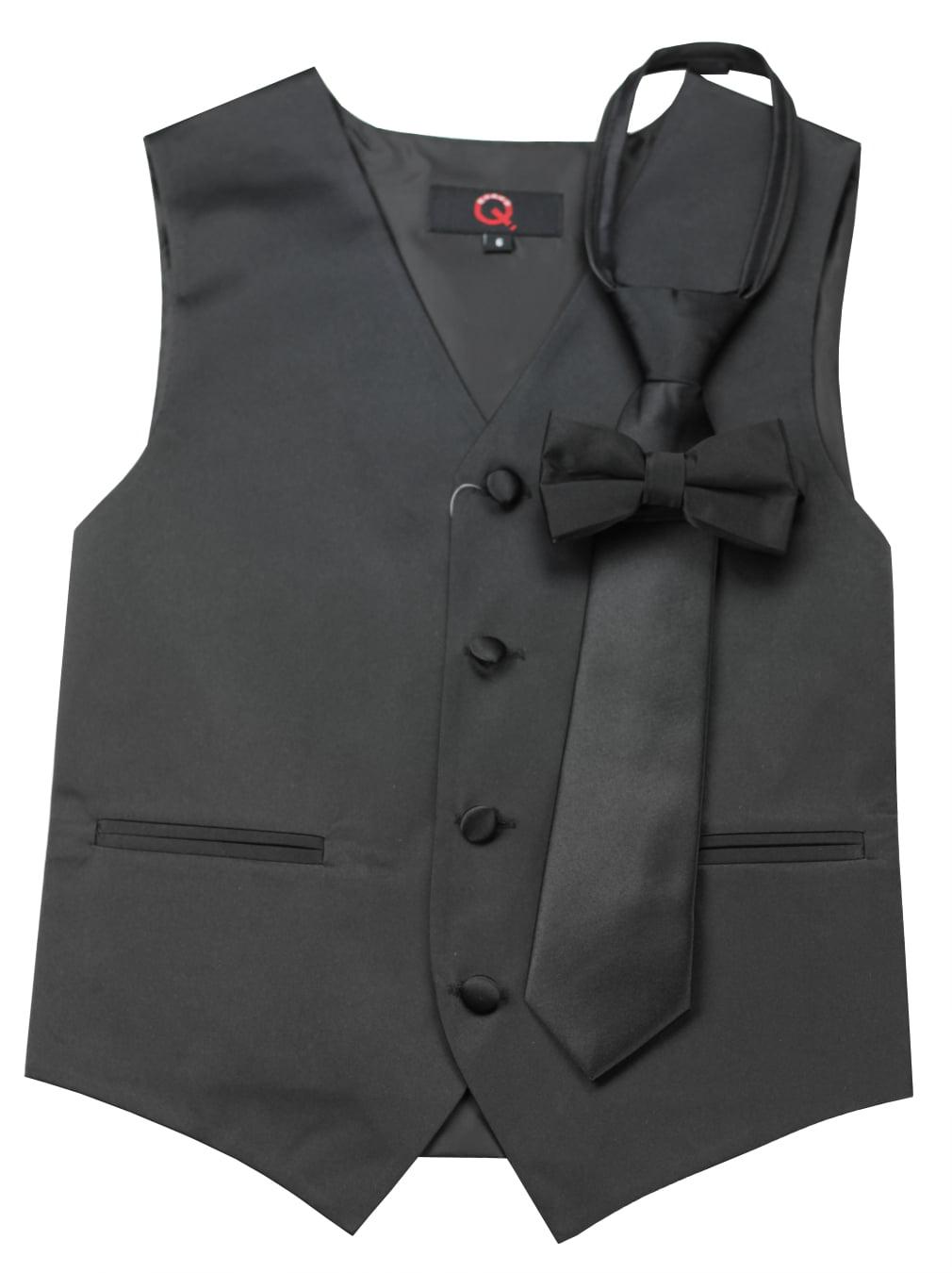 Brand Q Boys Tuxedo Vest Zipper Tie /& Bow-Tie Set in Scarlet
